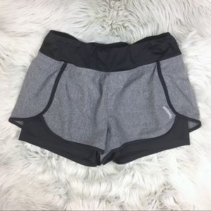 Reebok Two-in-One Running Shorts Gray Black